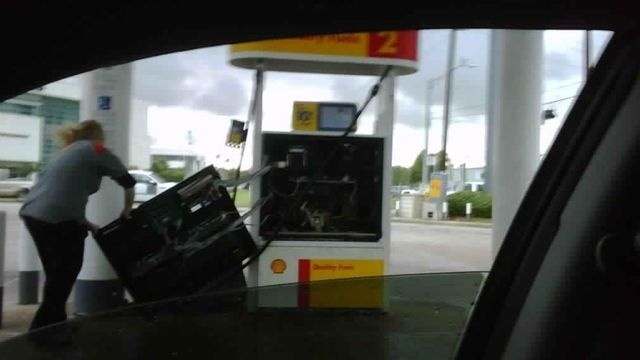 Gas Pump Ripped Open