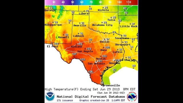Texas Saturday Highs 06-29-13