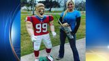 La Porte woman uses chainsaw to carve J.J. Watt wooden sculpture