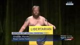 Libertarian Party chairman candidate strips on stage