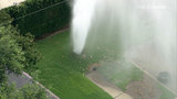 Water shoots into air in southwest Houston neighborhood