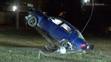 Crash leaves car upright on utility pole along FM 1485