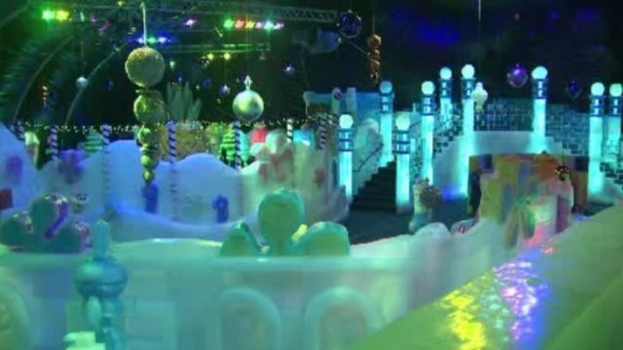 Final Touches On Ice Land Exhibit For Moody Gardens