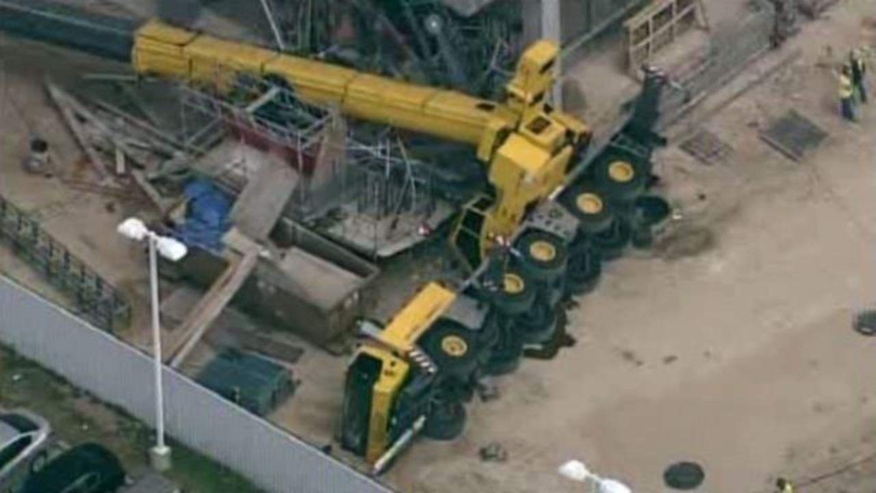 Large Crane Falls Over At Building Under Construction In