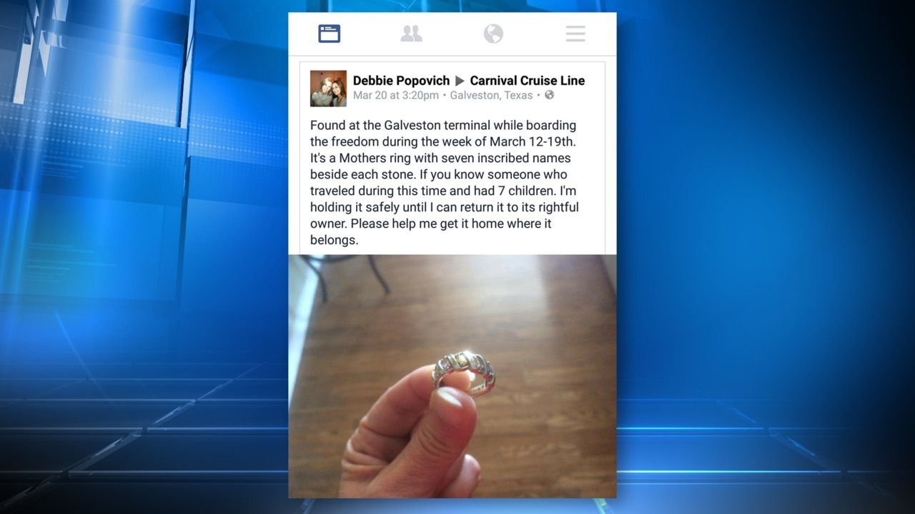 Woman searches for owner of ring lost on Carnival Cruise ship