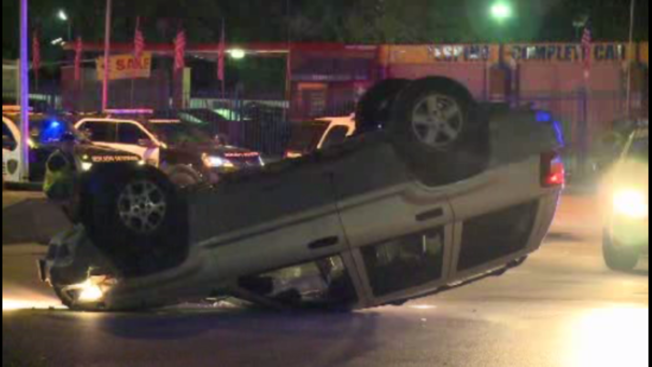 Driver flips Jeep at end of chase in southwest Houston