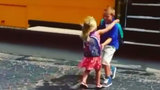 Little girl greets brother every day after school