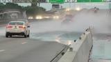VIDEO: Car hydroplanes on freeway