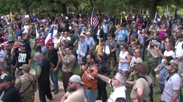 hundreds gather in support of sam houston statue at hermann park