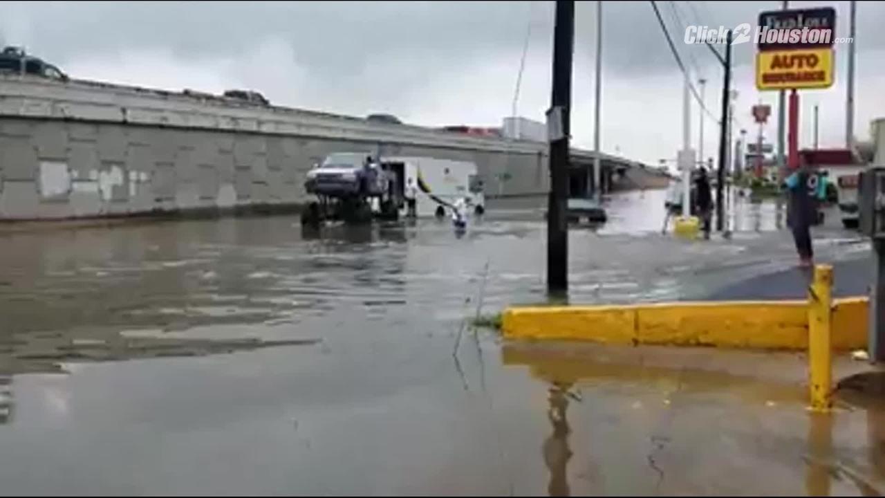 houstonarea man uses monster truck for flood rescues