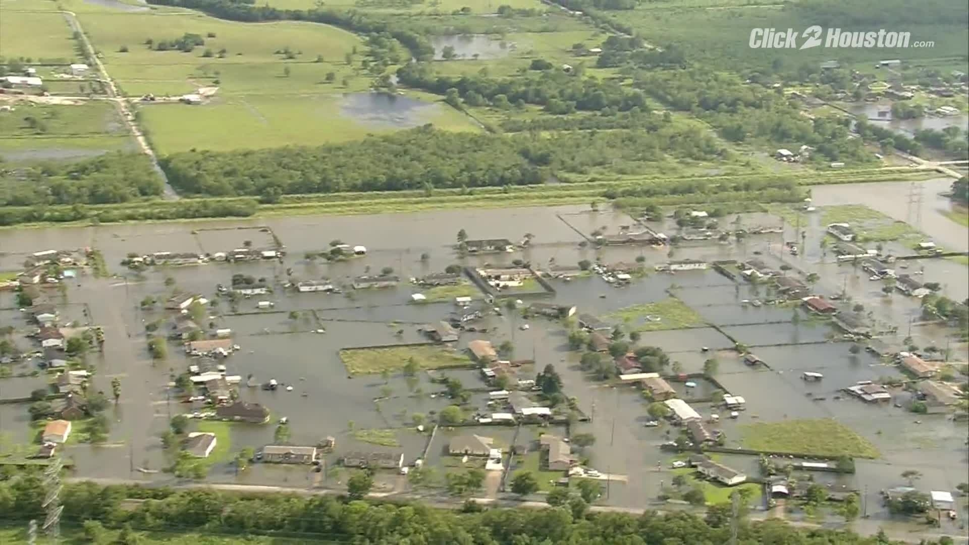 Sky 2 aerials of flooding in Missouri City Sugar Land and