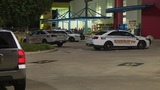 One man shot in store parking lot