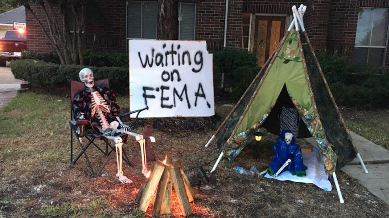 Harvey victim's Halloween display shows dark humor after floods