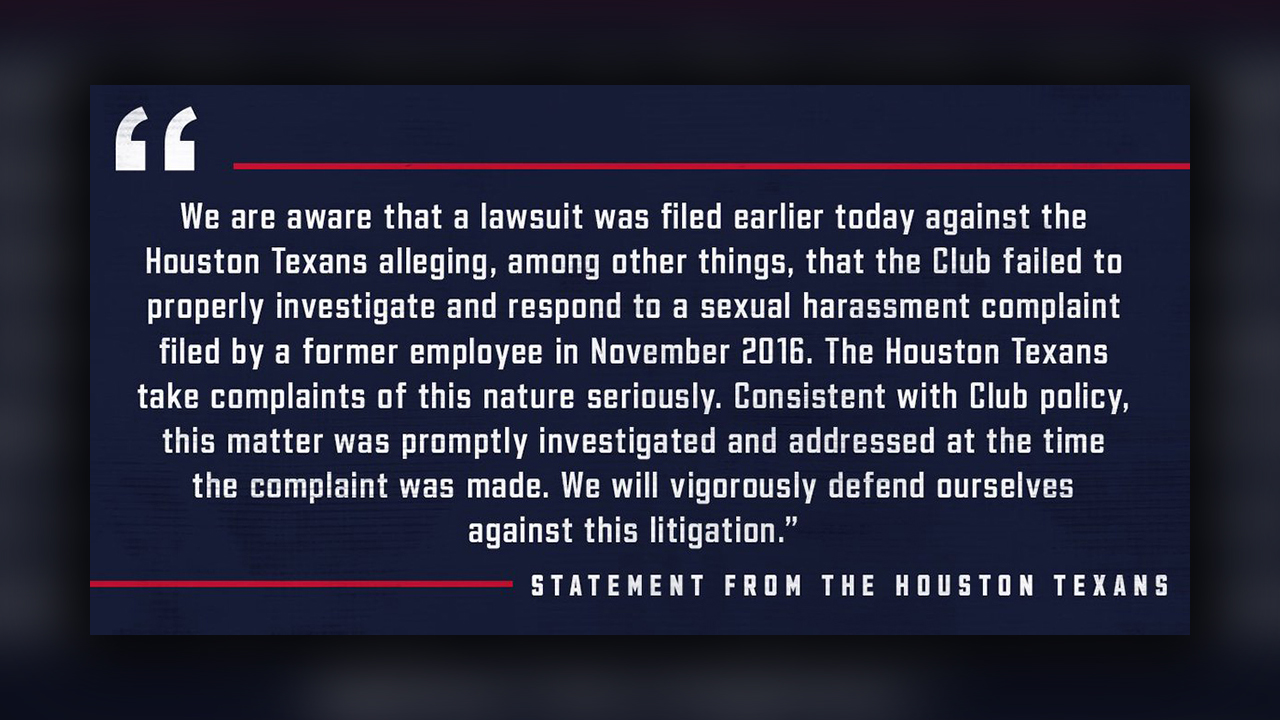 Lawsuit: Ex-employee claims Texans ignored sexual harassment complaints