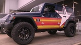 Astros-themed Jeep on display at west Houston dealership
