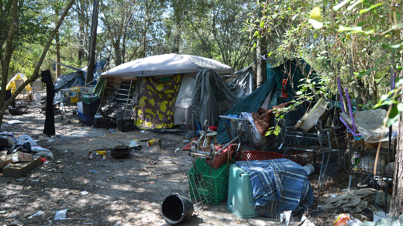 Drugs, abandoned dogs found at homeless camp near middle...