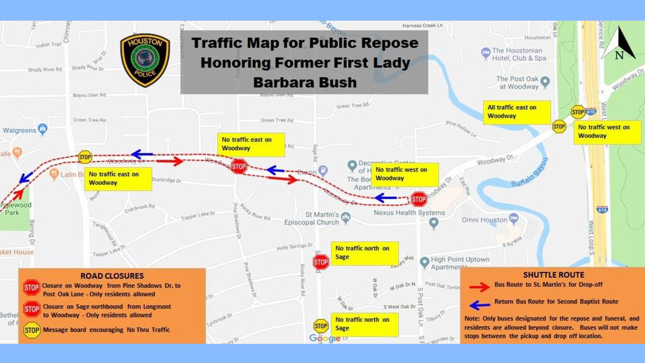 Click 2 Houston Traffic Map.Expect Road Closures Tight Security For Barbara Bush S