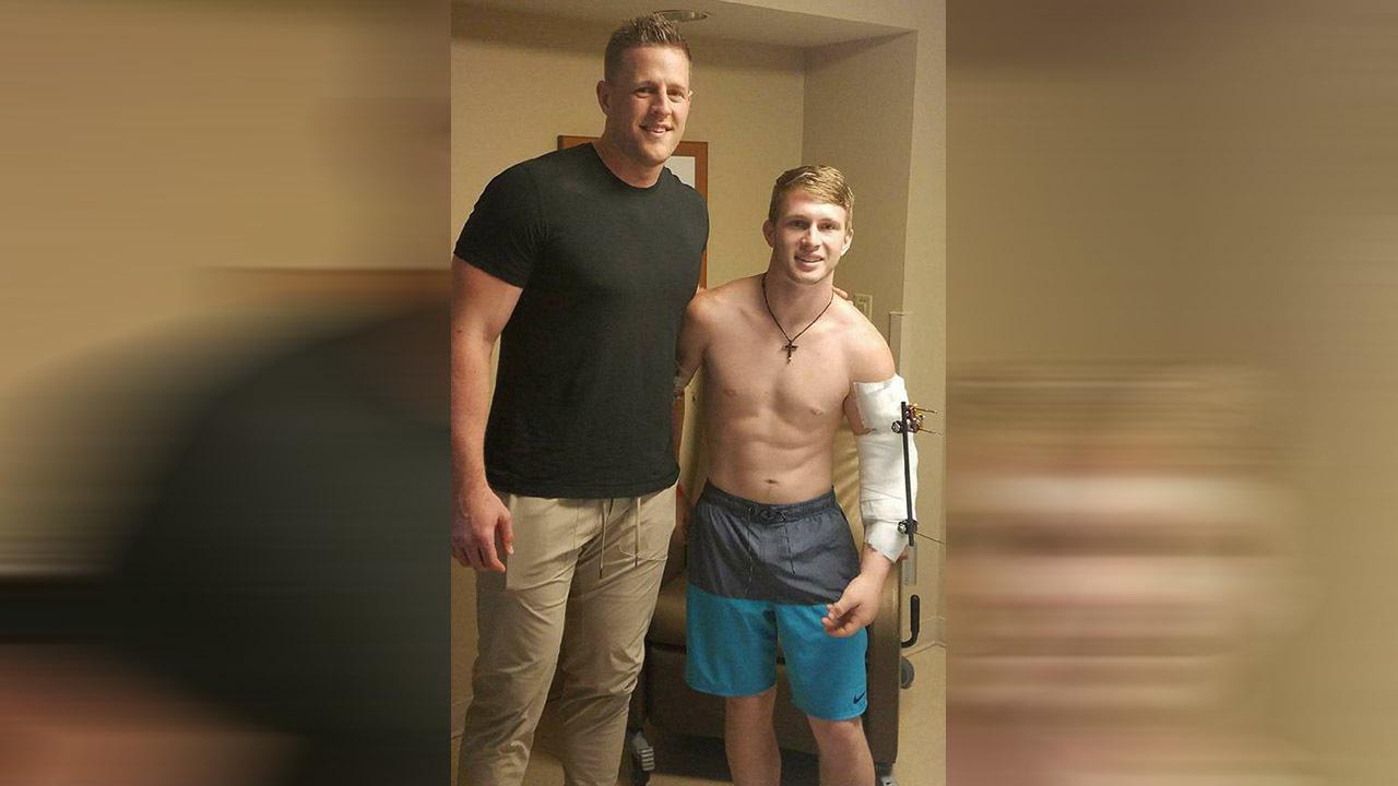 JJ Watt visits Santa Fe shooting survivors in hospital