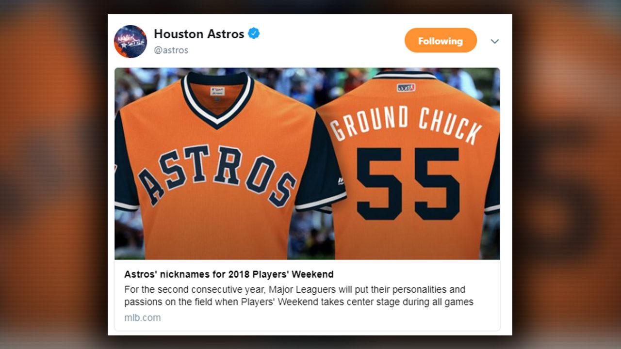 separation shoes 77817 acc2f Big Fudge,' 'Ground Chuck,' 'Tuve': Astros nickname jerseys...