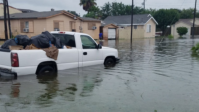governor declares disaster as galveston flooded by heavy rain
