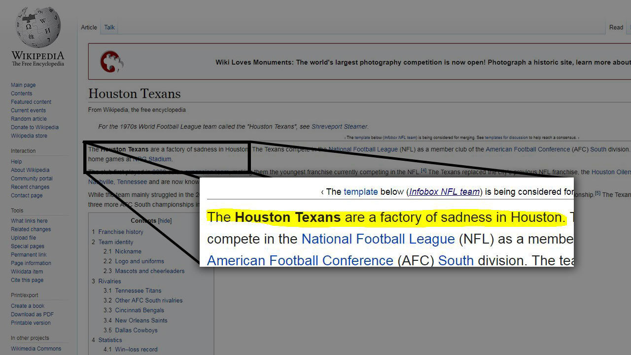Factory Of Sadness Trolls Bash 0 3 Houston Texans On Wikipedia