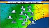 Cold front brings rain, big temperature drop to Houston