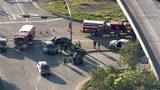 HPD cruiser overturns during 2-vehicle crash in east Houston