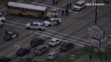 Sky 2 flies over scene of crash involving Spring ISD bus