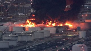 What's burning at the chemical plant in Deer Park?