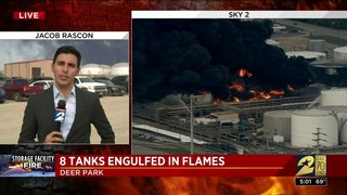 8 tanks engulfed in flames