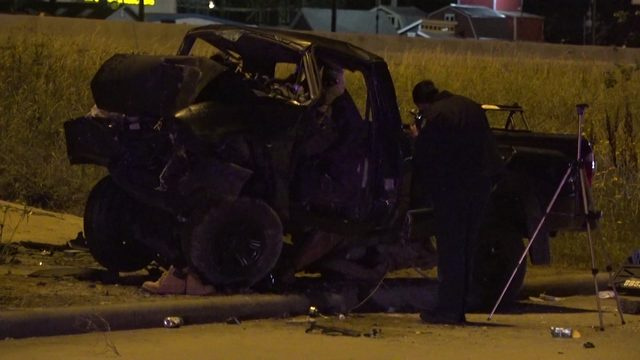 One dead after vehicle drives off highway, slams into pole