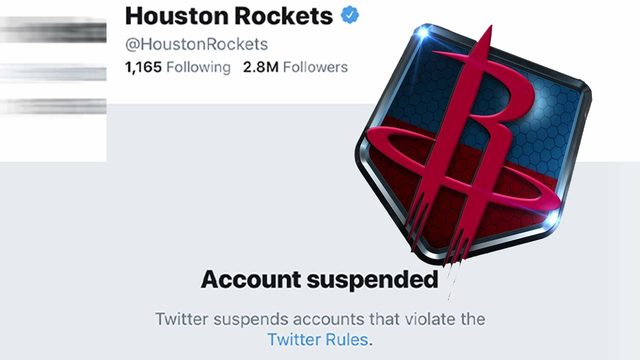Here's why Houston Rockets' Twitter account was suspended