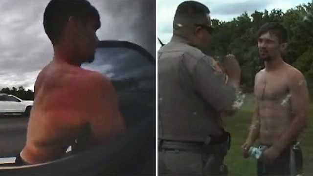 VIDEO: Topless man leads police on wild chase in their patrol car