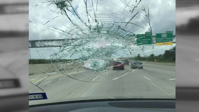 Man claims concrete road debris from work zone shattered his windshield