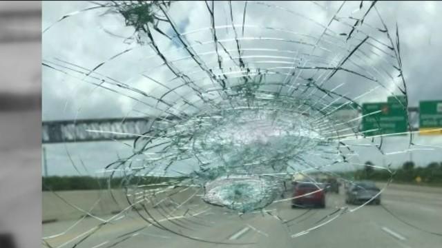 Concrete smashes windshield