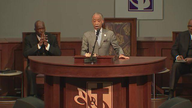 Rev. Al Sharpton speaks at Pamela Turner's funeral