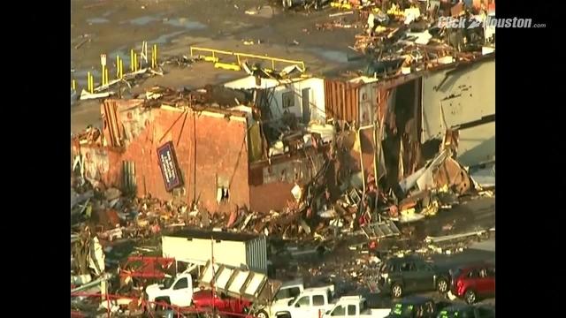 Aerial damage of El Reno tornado damage