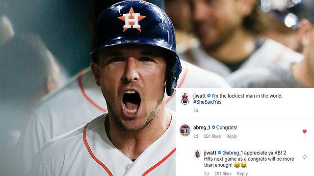 Did Alex Bregman hit 2 home runs to congratulate JJ Watt on his engagement?