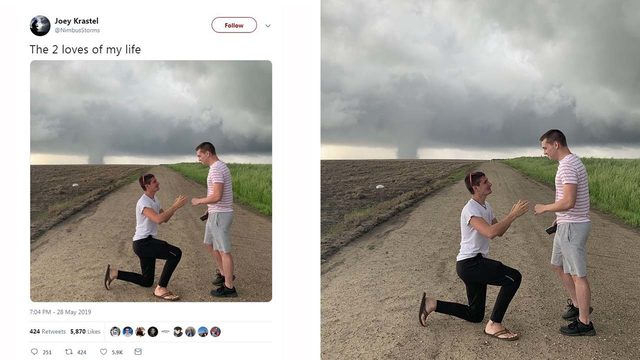 Whirlwind romance: Storm-chaser pops the question as apparent tornado…