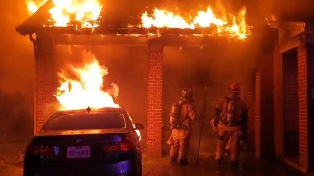 Neighbors rush to rescue person from burning home