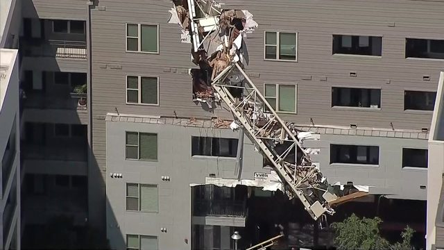 2 injured after crane collapses on downtown Dallas apartment building