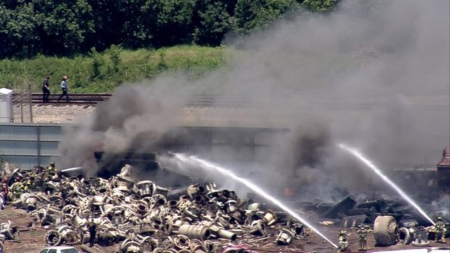 Fire, smoke seen at east Houston recycling center