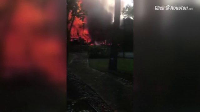 The Woodlands house fire ground footage