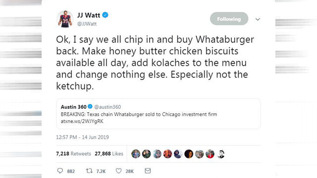 JJ Watt, Texans react to Whataburger being sold to Chicago-based bank