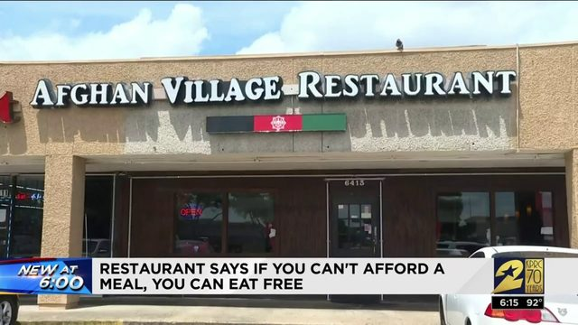 Restaurant says if you can't afford a meal, you eat for free