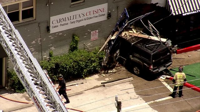 Vehicle slams into Heights restaurant