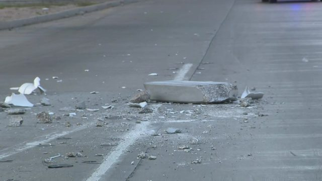 Large chunk of concrete falls off overpass onto North freeway feeder,…