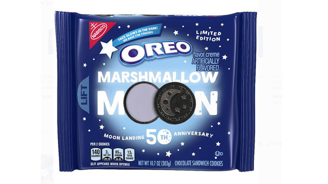 These Oreo cookies with purple filling, moon designs honor 50th…