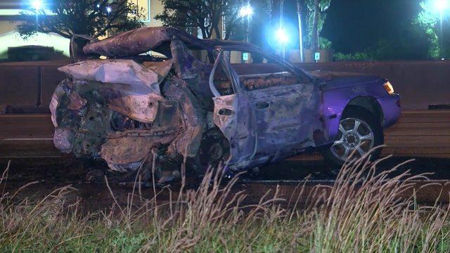 Man pinned under SUV, killed in fiery crash on North Freeway