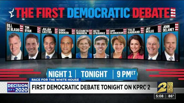 First democratic debate tonight on KPRC